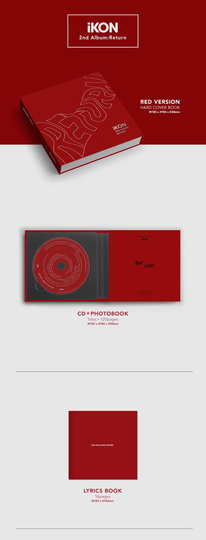 IKON 2nd Album - Return (Red Ver) CD + Poster