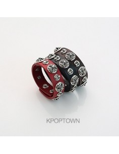 [BB79] Bigbang Round Hearts Leather Bracelet