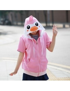 [H43] Short Sleeve Hood Zip-up - Pink Penguin