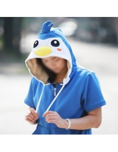 [H44] Short Sleeve Hood Zip-up - Cool Penguin
