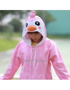 [H73] Long Sleeve Hood Zip-up - Pink Penguin