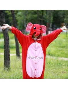 [PJA77] Animal Pajamas - Red Elephant