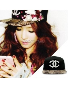 [Cap341] Skull Snapback : Snake Leather