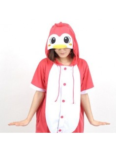 [PJB148] Animal Shorts Sleeve Pajamas - Pink Penguin