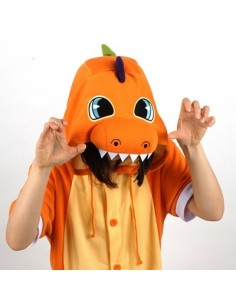 [PJB152] Animal Shorts Sleeve Pajamas - Orange Dinosaur
