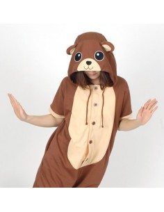 [PJB167] Animal Shorts Sleeve Pajamas - Brown Bear