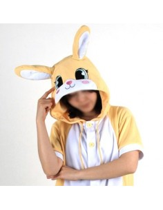 [PJB179] Animal Shorts Sleeve Pajamas -  Yellow rabbit