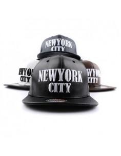 [Cap369] New York City Leather Snapback