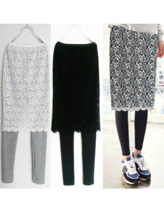 [LP13] Lace Skirt-leggings Banding Pants ( 3colors )