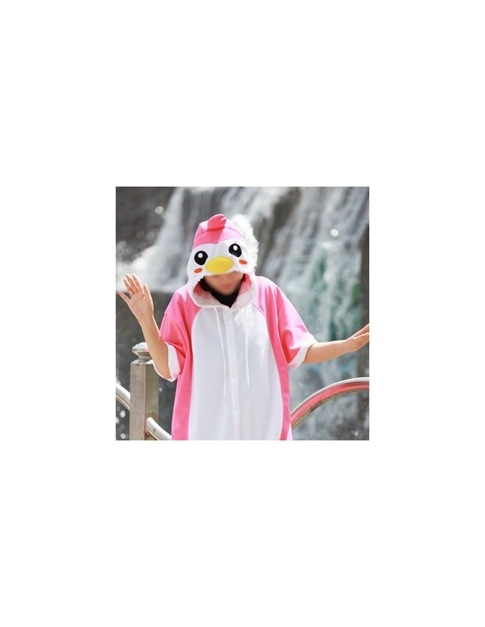 [PJA128] Animal Short Sleeve Pajamas - Pink Penguin