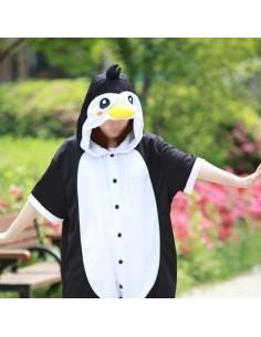 [PJA129] Animal Short Sleeve Pajamas - Black Penguin