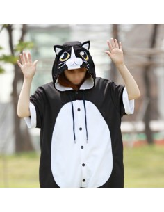 [PJA136] Animal Short Sleeve Pajamas -  Cutie Black Cat