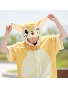 [PJA142] Animal Short Sleeve Pajamas - Fennec fox