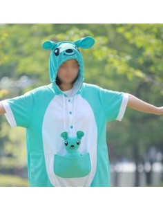 [PJA143] Animal Short Sleeve Pajamas - Sky kangaroo