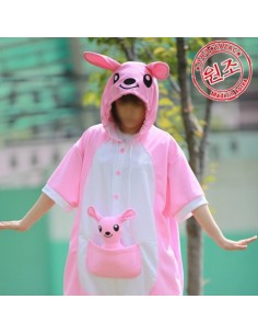 [PJA144] Animal Short Sleeve Pajamas - Pink kangaroo