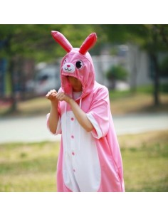 [PJA147] Animal Short Sleeve Pajamas - Pink Rabbit