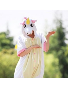 [PJA158] Animal Short Sleeve Pajamas - Pink Unicorn