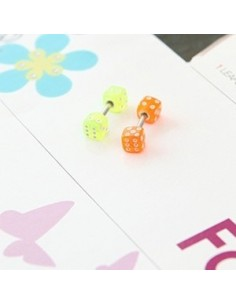 [SH35] Shinee Key Style Colorful Dice Earring / Piercing
