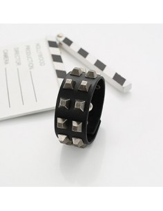 [VX12] VIXX Black Leather Stud Bracelet