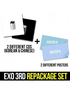 [SET] EXO 3rd Album REPACKAGE - LOTTO (KOREAN Version + CHINESE Version) 2CDs + 2 Different Posters