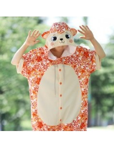 [PJA172] Animal Short Sleeve Pajamas - Aloha Orange Monkey