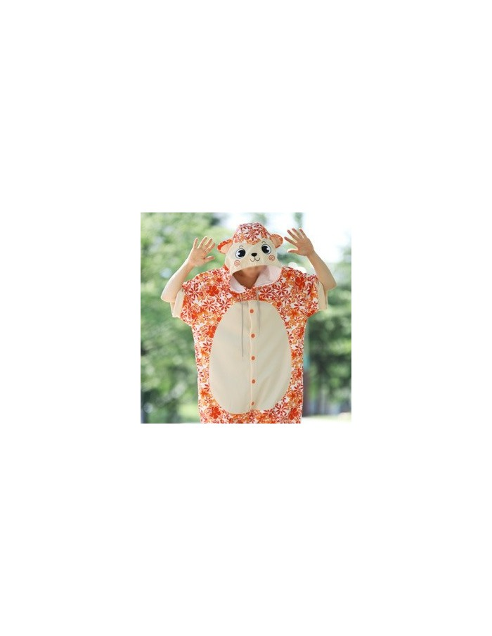 [PJA172] Animal Short Sleeve Pajamas - Aloha Orange Monkey