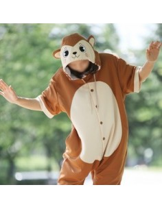 [PJA175] Animal Short Sleeve Pajamas - Brown Monkey