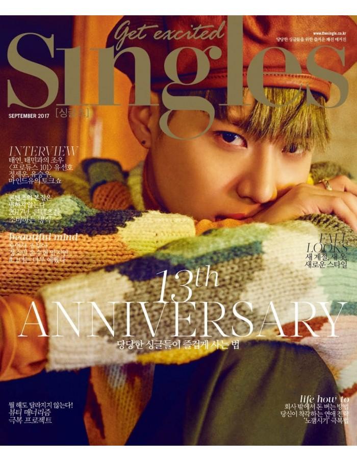 Magazine SINGLES 2017-09 Tae Min(SHINEE), Tae Yeon(SNSD) [Random Cover]
