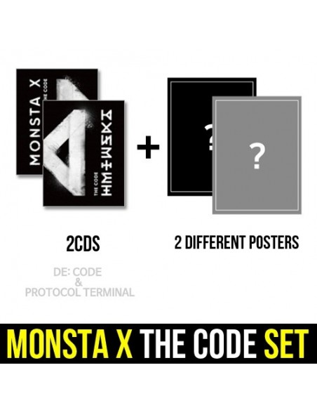 [SET] MONSTA X 5th Mini Album - THE CODE 2 CDs + 2 Different Posters