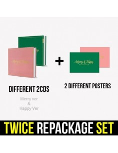 [SET] Twice 1st Album REPACKAGE - [MERRY&HAPPY] (SET Ver.) 2 CDs + 2 Posters