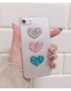 [IH191] i Phone Solid Hart Glitter Case