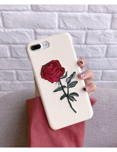 [IH193] i Phone Rose Embroidery Case