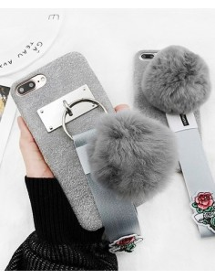 [IH194] i Phone Grey Rose Pompom Case
