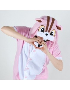 [PJA177] Animal Short Sleeve Pajamas - Pink Squirrel