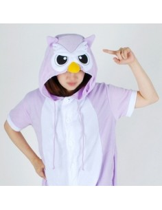 [PJA178] Animal Short Sleeve Pajamas - Purple Owl