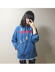 [H98] Ninja Frash Damage Denim Hoodie