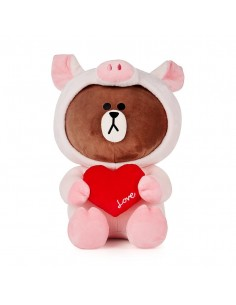[LINE FRIENDS Official Goods] Heart Pigy Brown Doll (45cm)