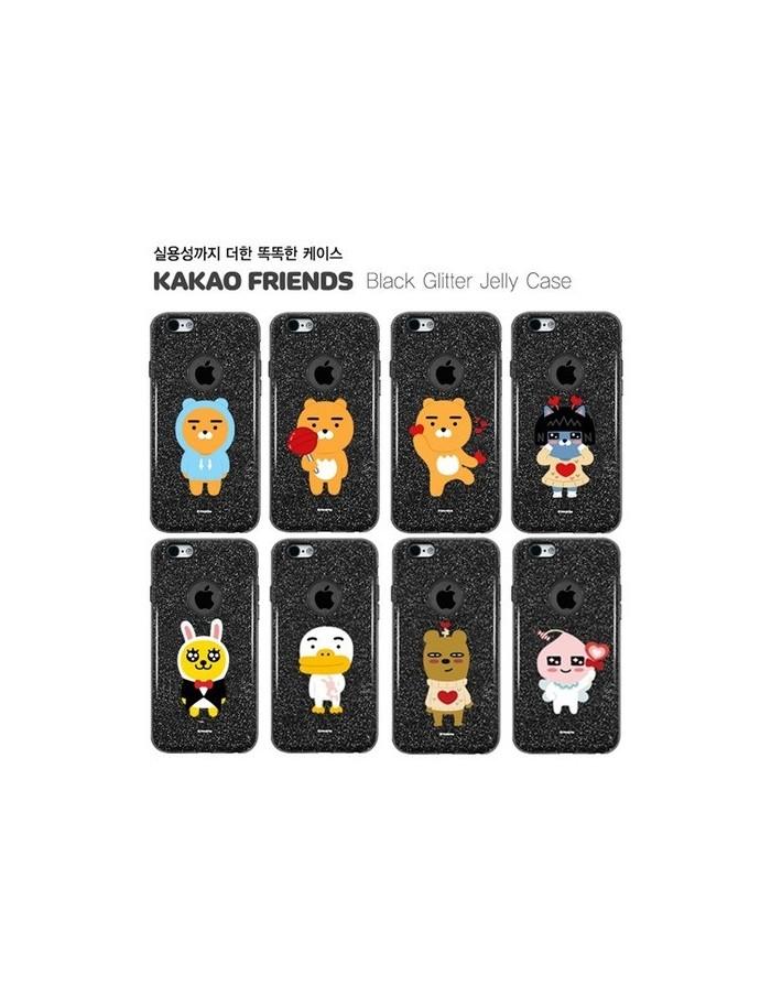 [ KAKAO FRIENDS ] KAKAO Black Glitter Jelly Case For iPhone